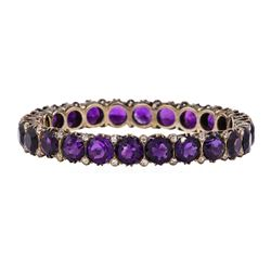 41.20 ctw Amethyst and Diamond Bangle Bracelet - 14KT Yellow Gold