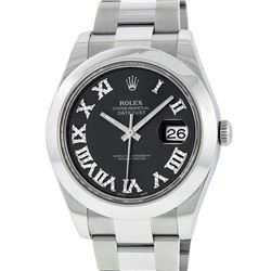 Rolex Mens SS 41MM Slate Roman Diamond Datejust 2 Oyster Band Wristwatch With Bo