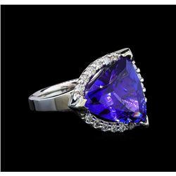 GIA Cert 6.52 ctw Tanzanite and Diamond Ring - 14KT White Gold