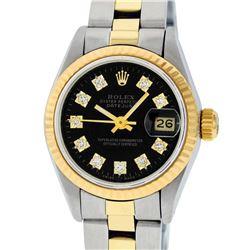 Rolex Ladies 2 Tone 14K Black Diamond 26MM Datejust Wristwatch