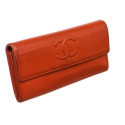 Chanel Red Caviar Leather CC Long Flap Wallet