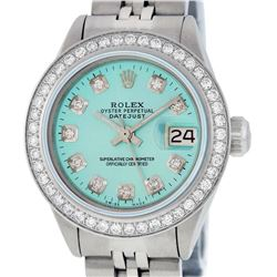 Rolex Ladies Stainless Steel Ice Blue Diamond 26MM Datejust Wristwatch