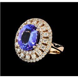 5.50 ctw Tanzanite and Diamond Ring - 14KT Rose Gold