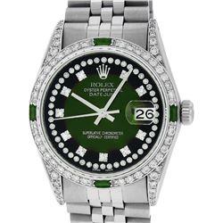 Rolex Mens Stainless Steel Diamond Lugs Green Vignette & Emerald Datejust Wristw