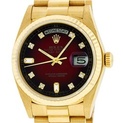 Rolex Mens 18K Yellow Gold Red Vignette Diamond Quickset President Wristwatch Wi