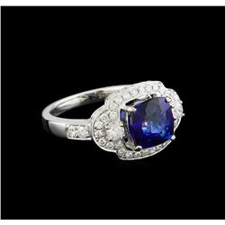 14KT White Gold 2.58 ctw Sapphire and Diamond Ring