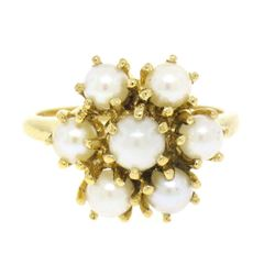 10k Solid Yellow Gold 7 Round Akoya Pearl Cluster Ladies Dinner Ring