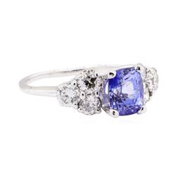2.87 ctw Sapphire And Diamond Ring - 14KT White Gold