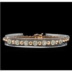 0.75 ctw Diamond Bracelet - 14KT Rose and White Gold