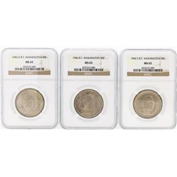 Set of (3) 1946/D/S Booker T. Washington Memorial Half Dollar Coins NGC MS65