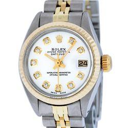 Rolex Ladies 2 Tone 14K White Diamond 26MM Datejust Wristwatch