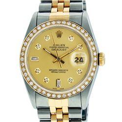 Rolex Mens 2 Tone 14K Champagne Diamond 36MM Datejust Wriswatch