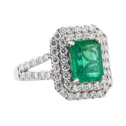 2.74 ctw Emerald and Diamond Ring - 18KT White Gold