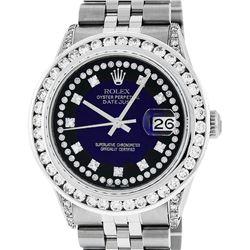 Rolex Mens Stainless Steel Blue Vignette Diamond Datejust Wristwatch With Watch