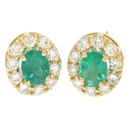 14k Yellow Gold 3.71 ctw Oval Emerald & Round Diamond Halo Cluster Omega Earring