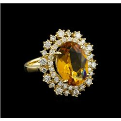 4.23 ctw Citrine and Diamond Ring - 14KT Yellow Gold