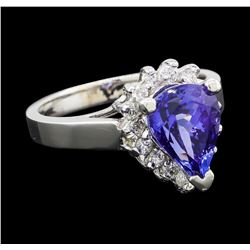 3.07 ctw Tanzanite and Diamond Ring - 14KT White Gold