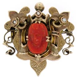 10k Gold Carved OX BLOOD Coral Cameo Seed Pearl Brooch Pendant