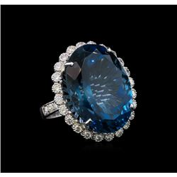 14KT White Gold 35.89 ctw Topaz and Diamond Ring