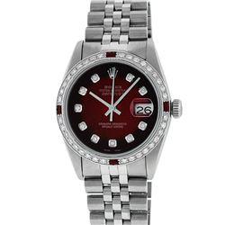 Rolex Mens Stainless Steel Red Vignette Diamond & Ruby Datejust Wristwatch
