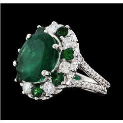 5.92 ctw Emerald, Tsavorite and Diamond Ring - 14KT White Gold