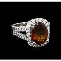 3.87 ctw Golden Tourmaline Ring - 14KT White Gold