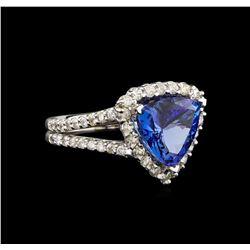 14KT White Gold 3.27 ctw Tanzanite and Diamond Ring