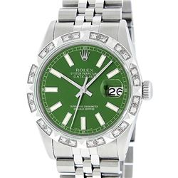 Rolex Mens Stainless Steel 36MM Green Index Pyramid Diamond Datejust Wristwatch