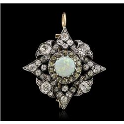 14KT Two-Tone Gold 1.87 ctw Opal and Diamond Brooch