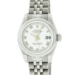 Rolex Ladies Stainless Steel White Roman Quickset Datejust Wristwatch With Rolex