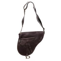 Christian Dior Brown Leather Large Saddle Bag Crossbody