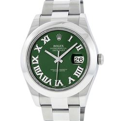 Rolex Mens SS 41MM Green Roman Diamond Datejust 2 Oyster Band Wristwatch With Bo