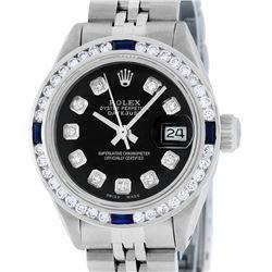 Rolex Ladies Stainless Steel Black Diamond & Channel Sapphire Datejust Wristwatc