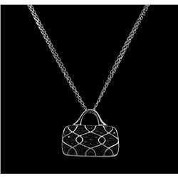 1.75 ctw Sapphire and Diamond Pendant With Chain - 18KT White Gold
