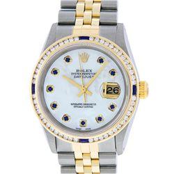 Rolex Mens 2 Tone 14K MOP Sapphire Diamond Channel Set Datejust Wristwatch