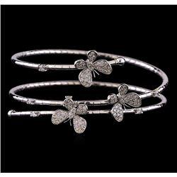 1.18 ctw Diamond Cuff Bracelet - 14KT White Gold