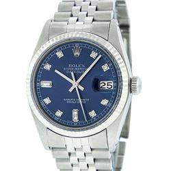 Rolex Mens Stainless Blue Diamond 36MM Datejust Wristwatch