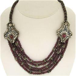 ".950 Sterling Silver 17"" Strung Multi Strand 230 Garnet Bead Necklace"