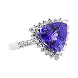 5.92 ctw Tanzanite and Diamond Ring - Platinum