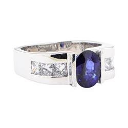 2.44 ctw Sapphire And Diamond Ring - 18KT White Gold