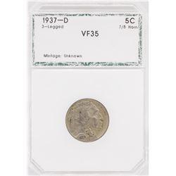 1937-D Nickel VF35 3-Legged Buffalo Coin