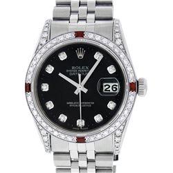 Rolex Mens Stainless Steel Black Diamond Lugs & Ruby Datejust Wristwatch