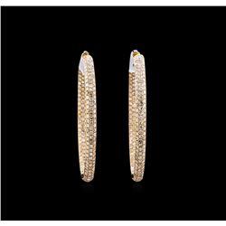 7.45 ctw Diamond Hoop Earrings - 18KT Rose Gold