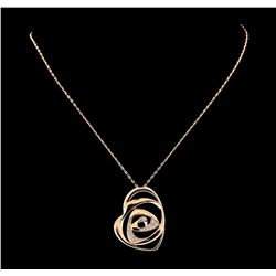 0.50 ctw Diamond Pendant With Chain - 14KT Rose Gold