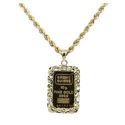 10 Gram Swiss Credit Pendant with Chain - 14KT and 24KT Yellow Gold