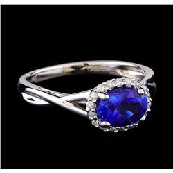 1.27 ctw Tanzanite and Diamond Ring - 14KT White Gold