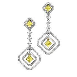 18k Two Tone Gold 2.71CTW Diamond Earrings, (VS1-VS2/G-H/Nat-yel)
