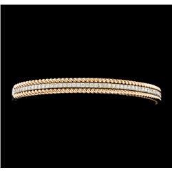 0.95 ctw Diamond Bangle Bracelet - 14KT Rose and White Gold