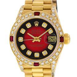 Rolex Ladies 18K Yellow Gold Diamond Lugs Red Vignette And Ruby President Wristw