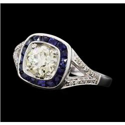 1.05 ctw Diamond And Sapphire Ring - 18KT White Gold